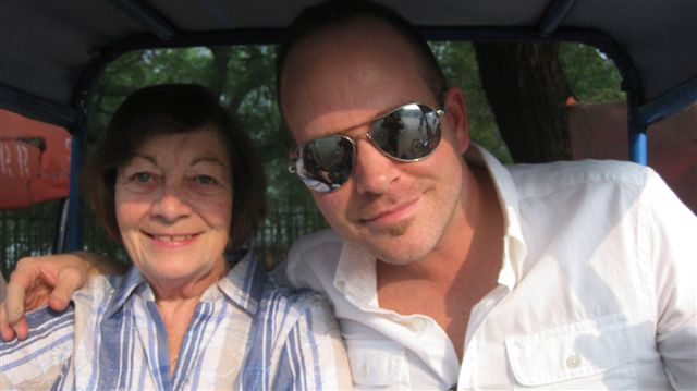 Joan and I on the tuk tuk/rickshaw/luxury sedan
