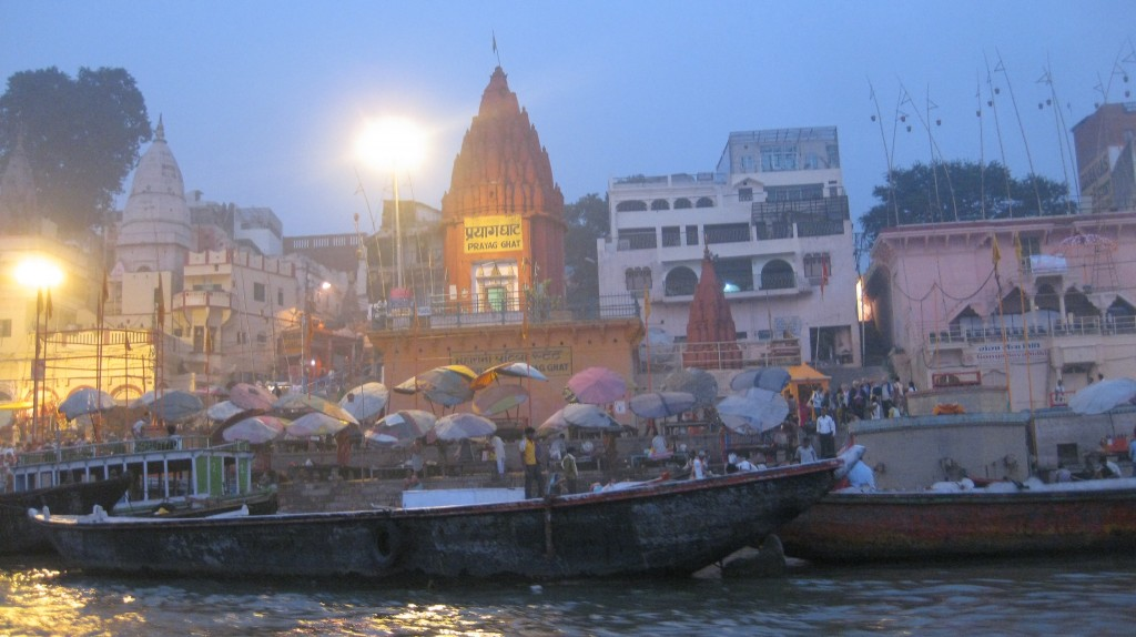 The ancient temples along the river banks are called Ghats.