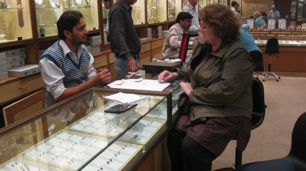 """Shopping for overpriced Indian jewelry. """"Which one's the cheapest?"""" is what every jeweler lives to hear."""