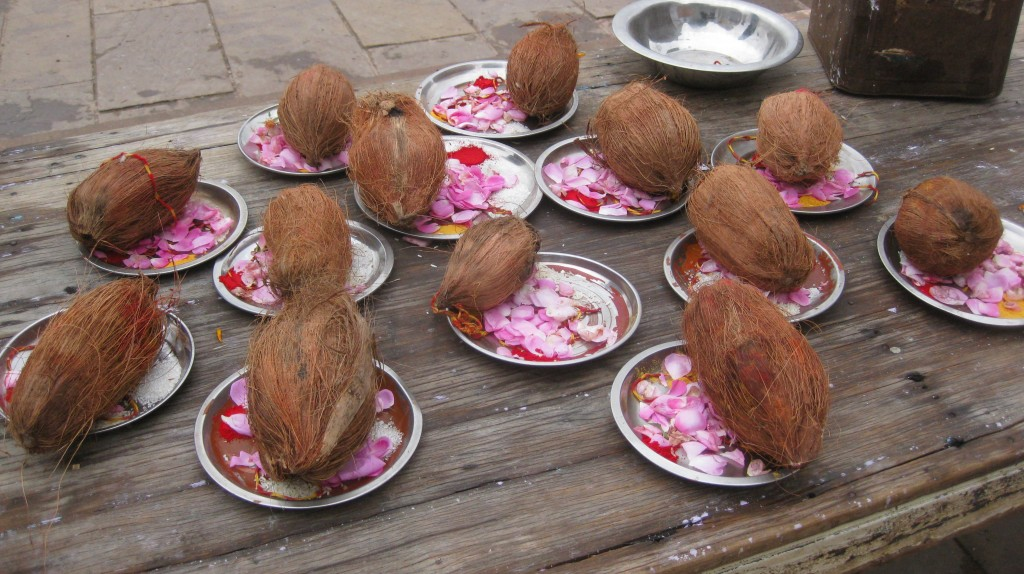 "Our prayer plates. The coconut is holy. Joan complained ""Mine looks like a monkey's shriveled bollocks!"""