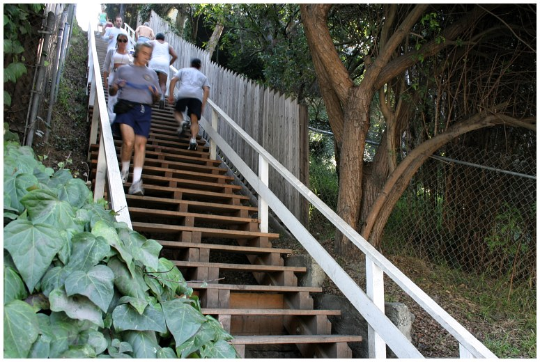 Only in LA would a set of stairs be turned into a GYM!