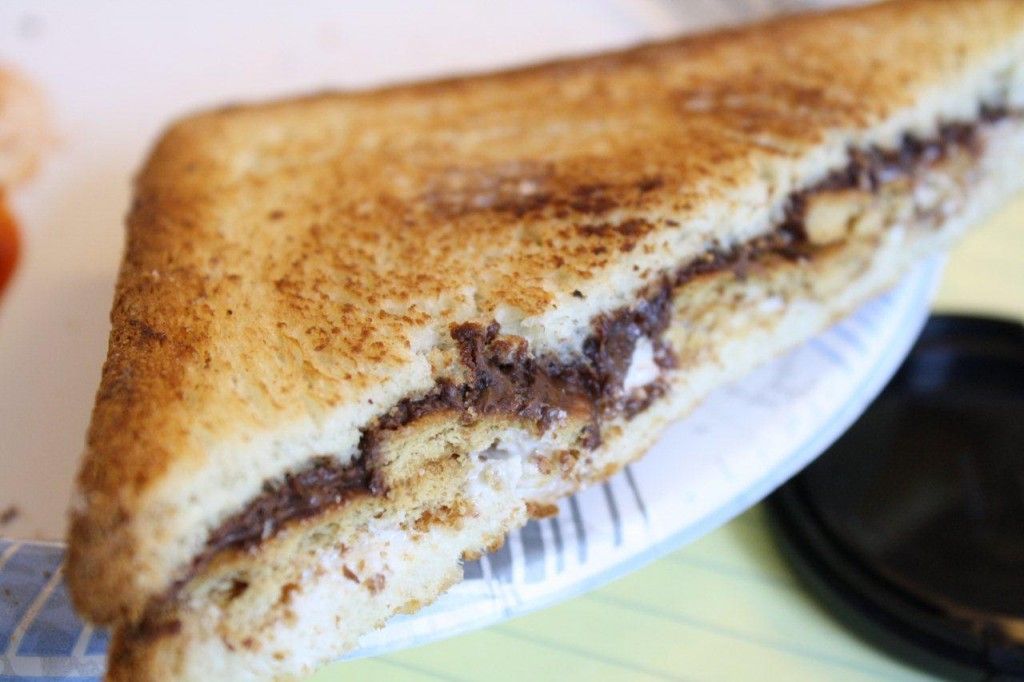 The Smore Melt! Marshmellow, nutella, graham crackers inside brioche toast