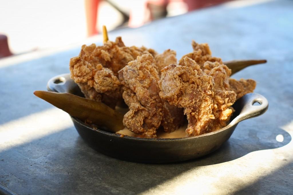 SMOKEY FRIED CHICKEN  jidori chicken, smoked milk gravy, yam preserves, spicy pickled okra