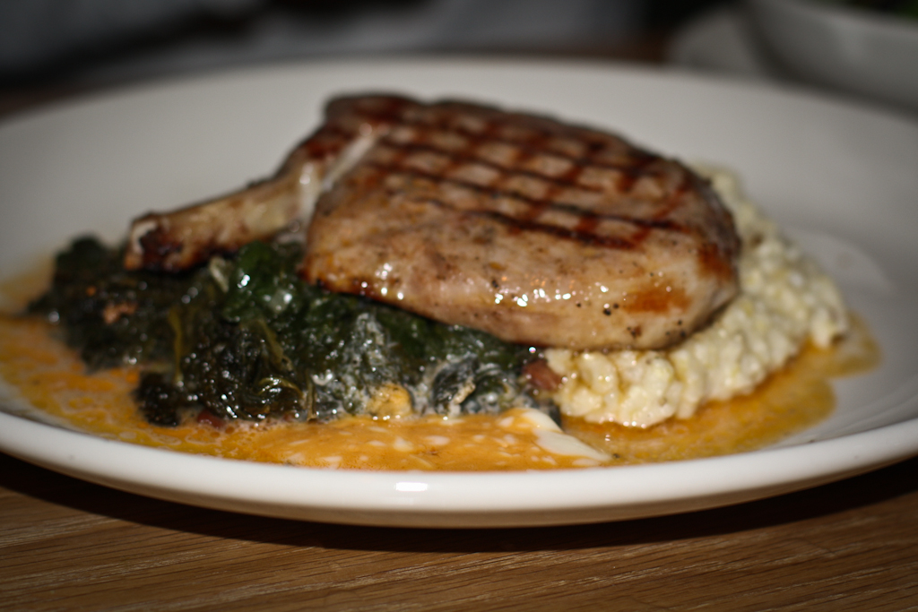 Mess Hall's Hog Chop With Cheddar Grits And Tabasco Butter Recipes ...