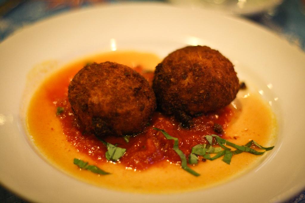 Suppli - Rosetta Croquettes stuffed w/ Mozzarella and Parmesan in Pomodoro Sauce