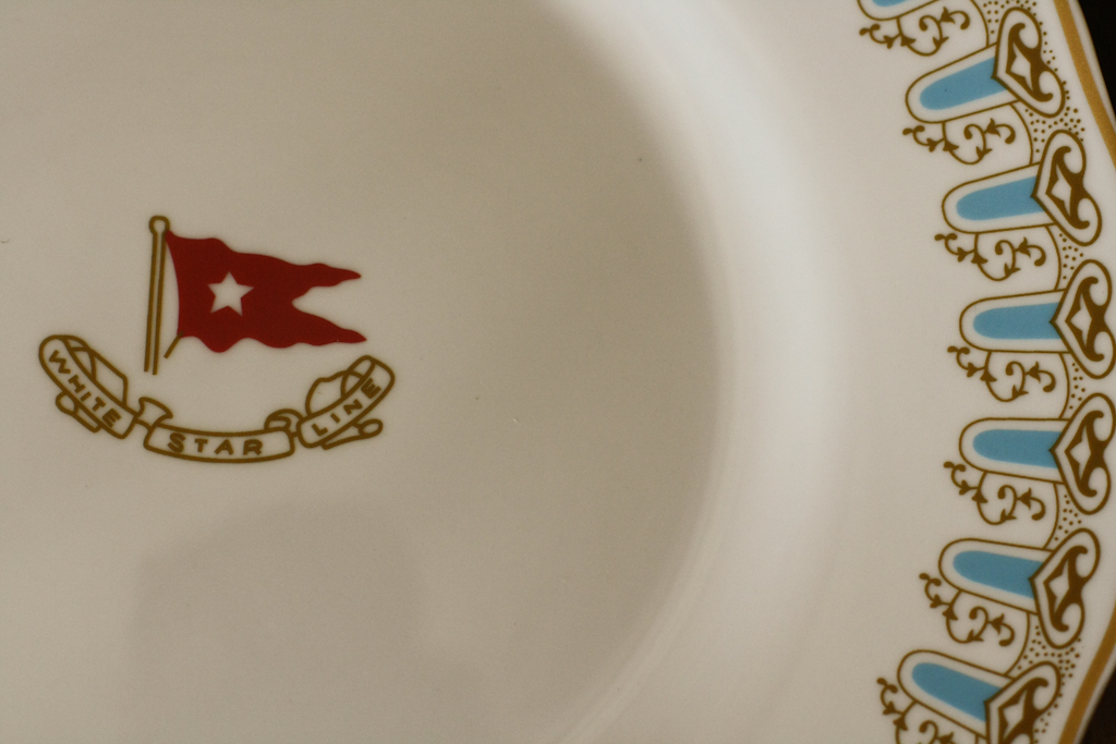 "Authentic Reproduction White Star Line china, as served on the R.M.S. ""Titanic"""