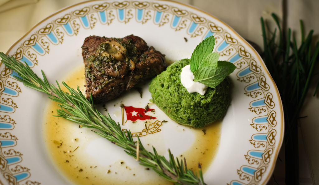 6th Course - Roast Lamb with Mint Sauce