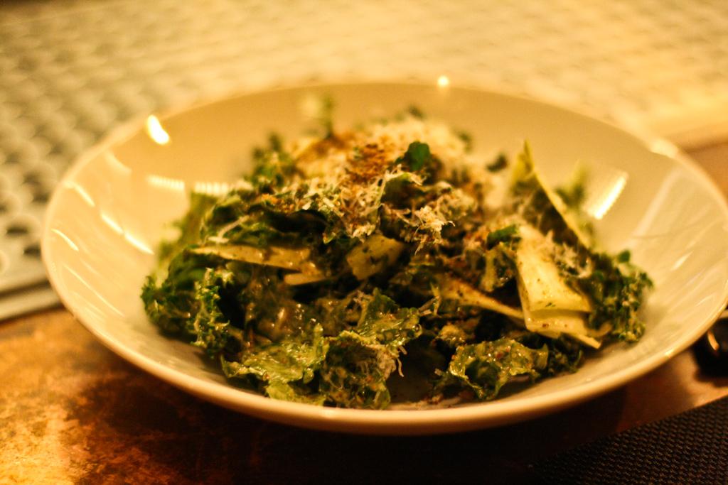 Kale Salad - caper-anchovy vinaigrette, purple kale, endive, pecorino toscano, breadcrumbs