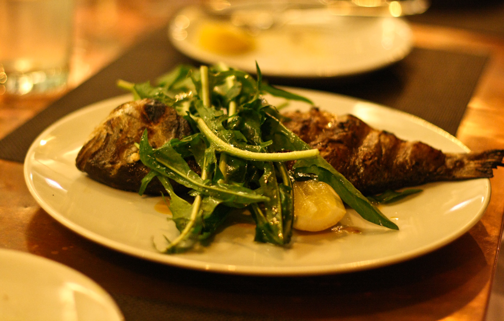 Grilled Whole Orata - rapini ripassati, anchovy paste, dandelion greens