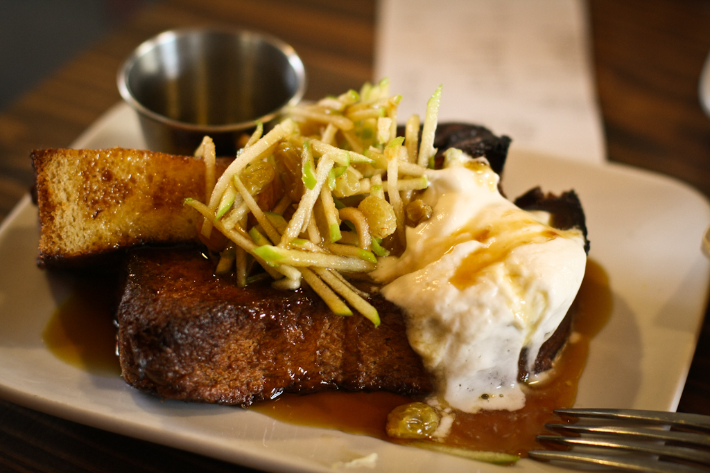 Cinnamon brioche French toast, grated apple slaw, whipped crème fraiche
