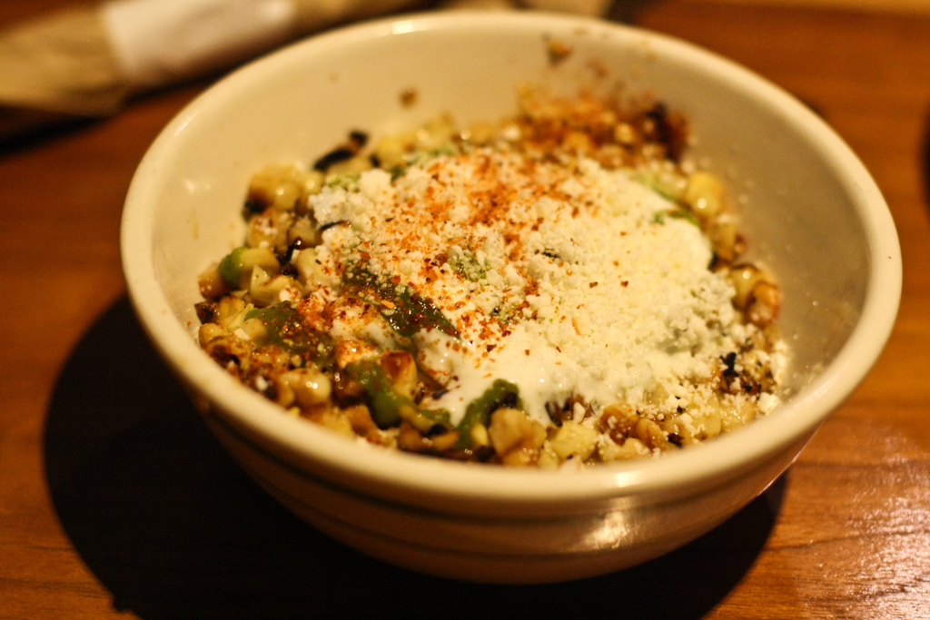 ELOTE ESPECIAL - grilled sweet corn, creamy lime, chili, poblano puree