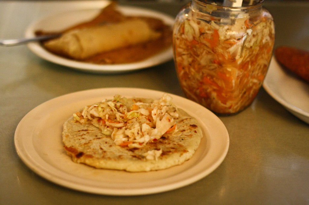 Pupusa Revuelta - Pork and Cheese with a do it yourself slaw container