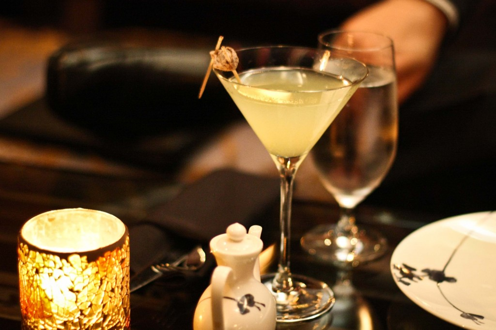 Hot and Sour Martini - Tequila, Yellow Chartreuse and a hint of Serrano Chili, served with a dried Chinese plum