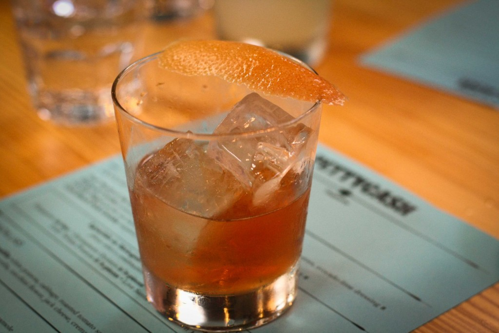 Fly By Night - Petty Cash scotch medley, Saler's gentiane, King's ginger, angostura, peychaud bitters, grapefruit twist