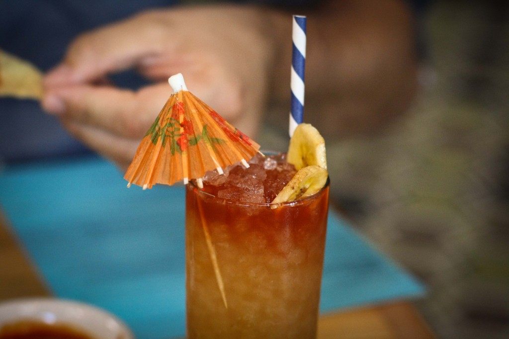Banana Hammock - Petty Cash rum blend, banana infusion, fresh lime, tamarind, cassia, dehydrated banana chip