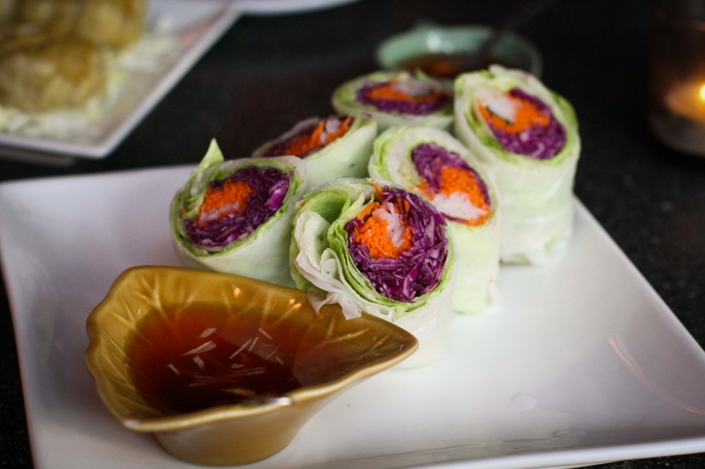 Garden Roll with citrus sweet and sour sauce.