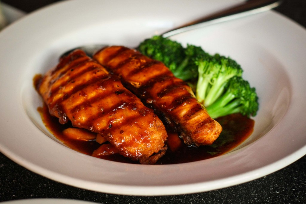 Dynamite Salmon with steamed vegetables.