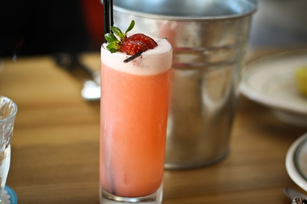 Sailor's Delight | dry gin, strawberries, rhubarb, lemon, egg white, soda