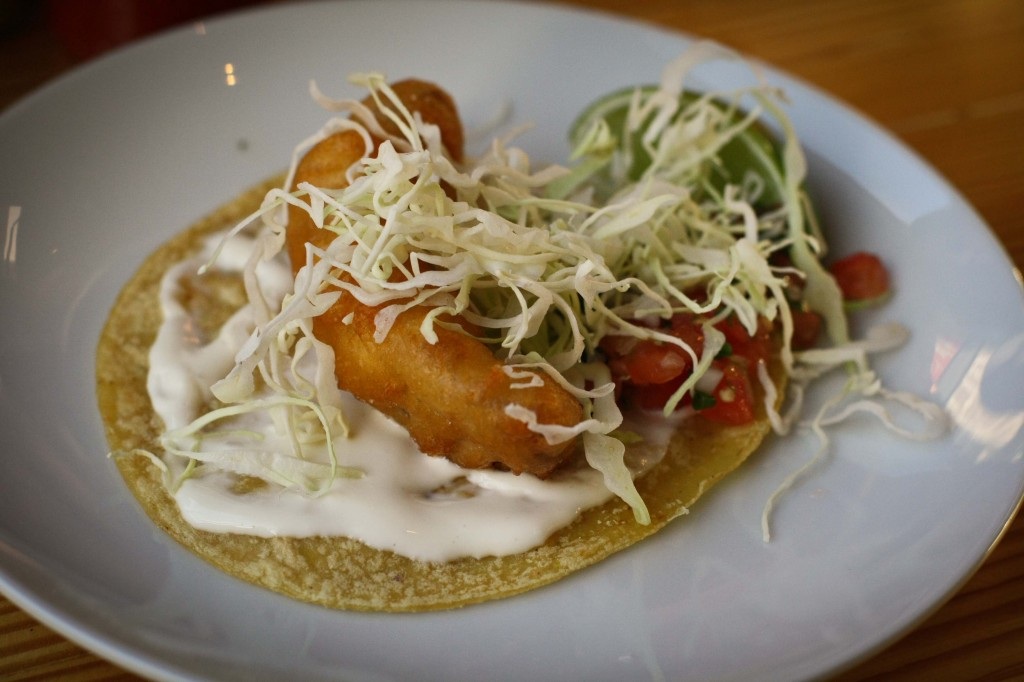 Baja Fish Taco, beer battered mahi-mahi, pico de gallo, cabbage