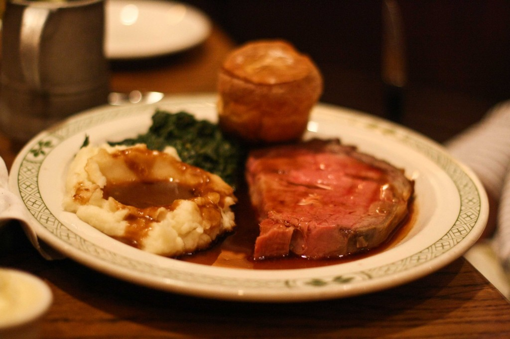 Prime Rib (California Cut) with mashed potatoes, creamed spinach and Yorkshire pudding.