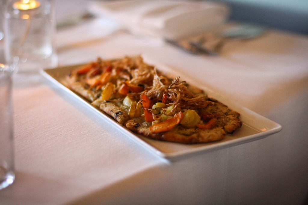 FLAT BREAD -- (GF optional) CARAMELIZED LEEK PUREE, ROASTED SPRING ROOT VEGETABLES, CRISPY SHALLOTS