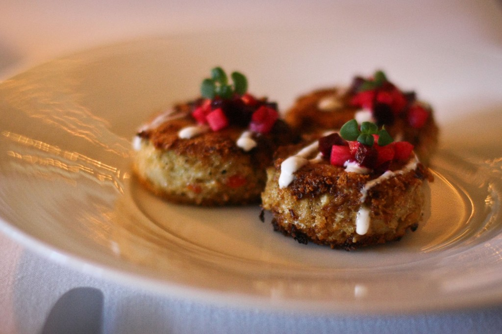 """CRAB CAKES""   / 10  hearts of palm / apples / beets / horseradish cream"