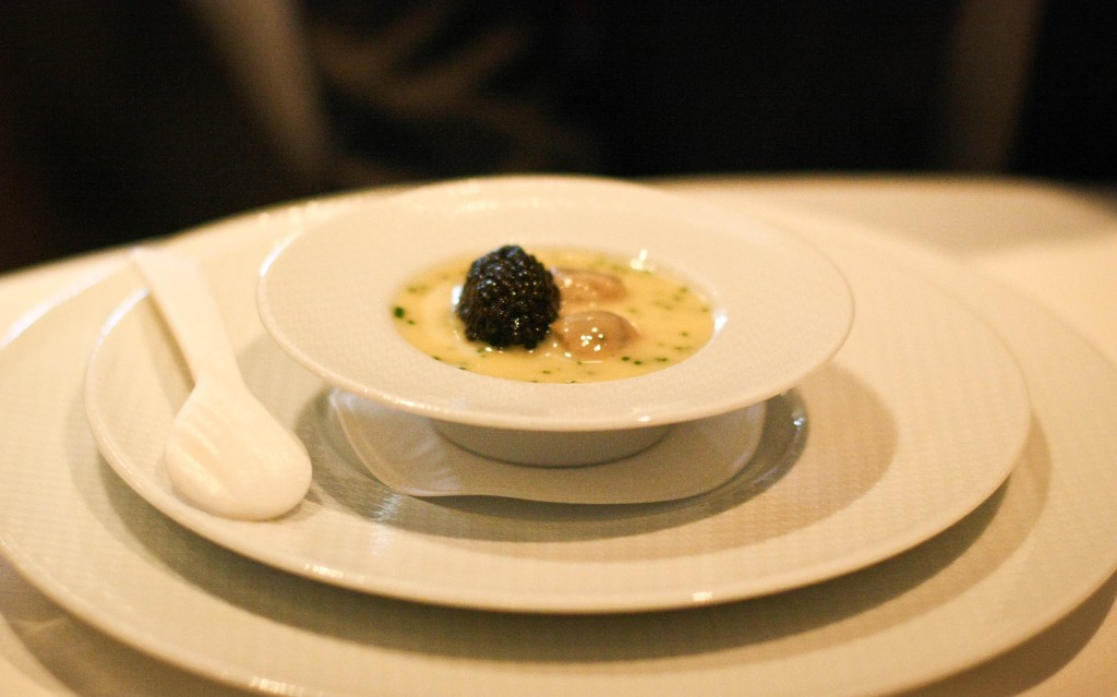 """""""Oysters and Pearls"""" - """"Sabayon"""" of Pearl Tapioca with Island Creek Oysters and White Sturgeon Caviar"""
