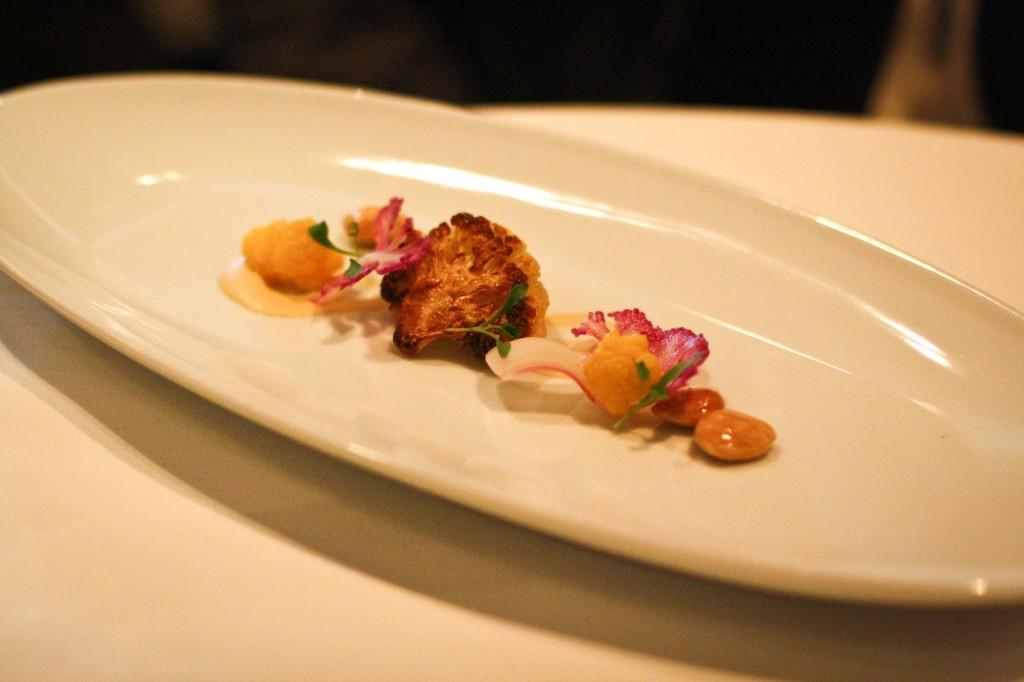 Salad of Roasted Cauliflower - Hadley Orchard Medjool Dates, Marcona Almonds and Cilantro Shoots