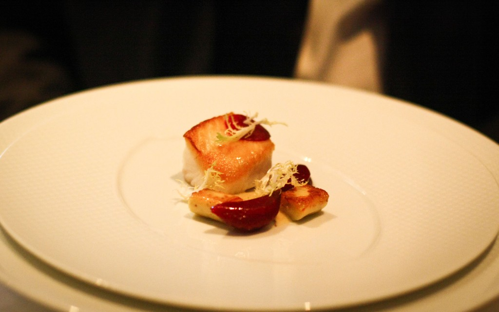 """Sauteed Fillet of Pacific Black Cod - """"Gnocchi a la Parisienne."""" French Laundry Garden Beets, Frisee and Whole Grain Mustard"""