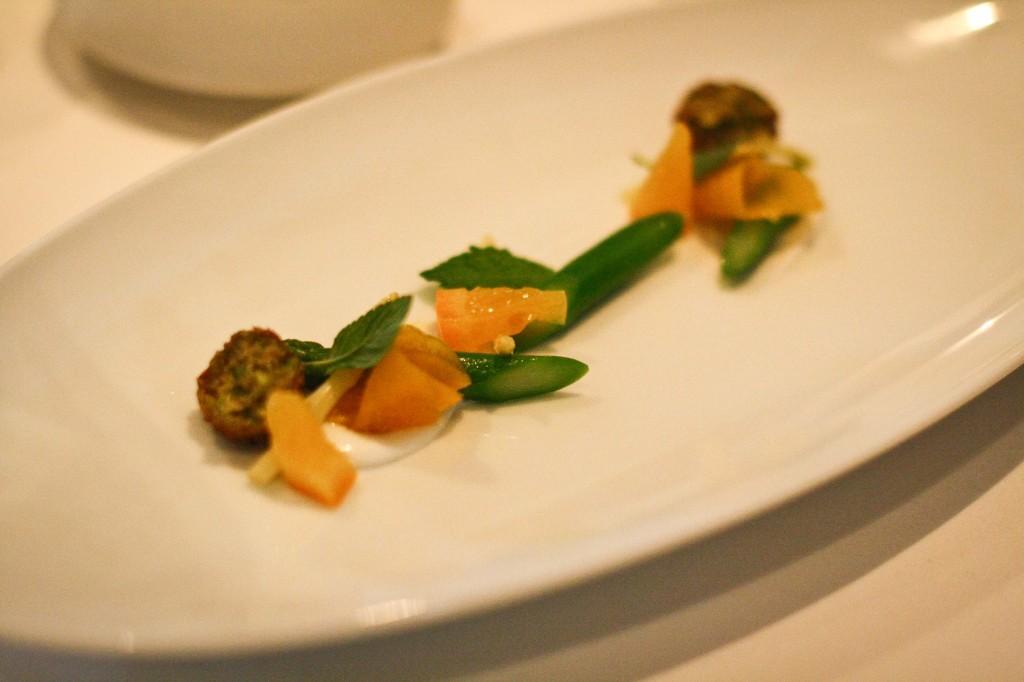 "Garbanzo Bean ""Croquettes"" - Sacramento Delta Green Asparagus, Navel Orange Confit, Pickled Garlic, Greek Yogurt and Garden Mint"