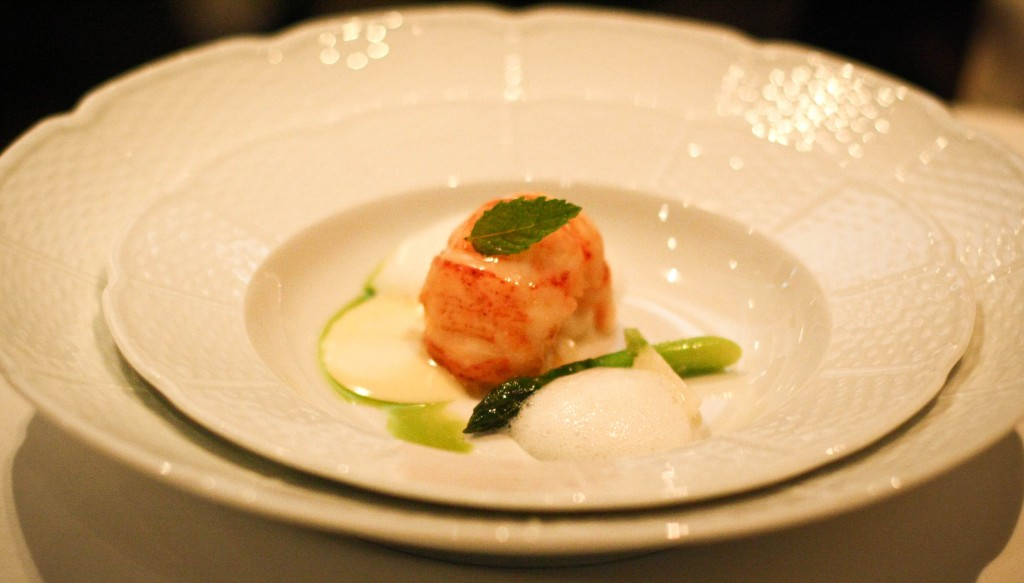 "Sweet Butter-Poached Maine Lobster - Sacramento Delta Green Asparagus, French Laundry Garden Turnips and ""Sauce Paloise"""