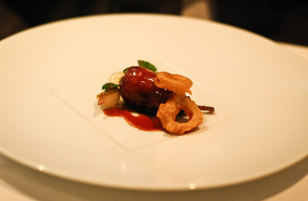"Wolfe Ranch ""Cuisse de Caille"" - ""Degustation"" of Petite Onions, Arrowleaf Spinach and Quail Jus"