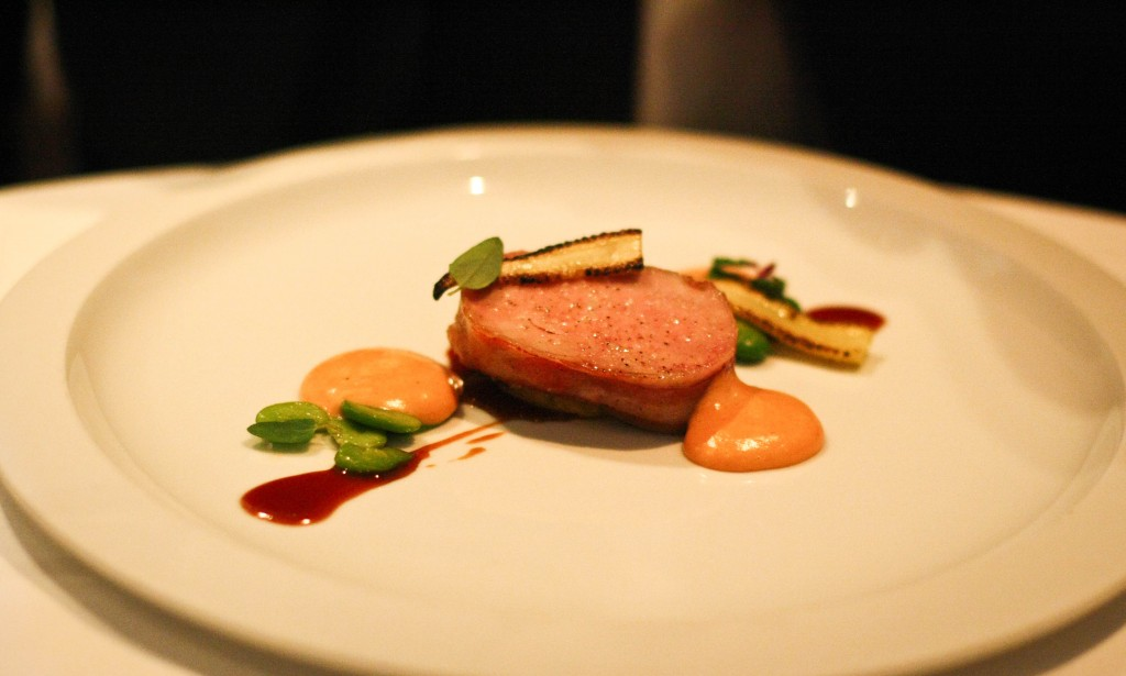"""Marcho Farms Nature Fed Veal - Hobbs' Bacon, Cop's Corn Cake, Fava Beans and """"Choron Mousseline"""""""