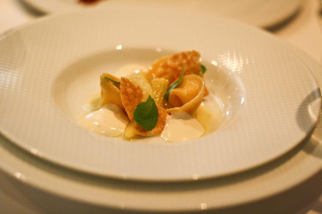 Sunchoke and Ricotta Tortellini - Cape's Corn Pudding, Young Corn Confit, Crispy Parmesan, Garden Mache and Vidalia Onion Soubise