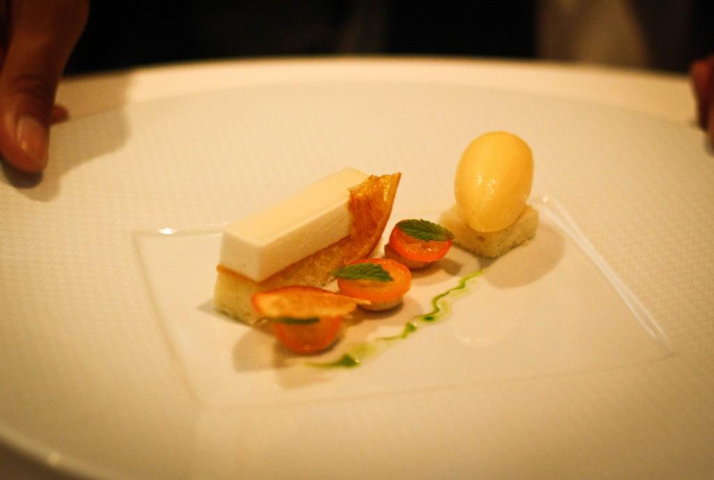 """Princess Cake"" - Animal Farm Buttermilk, Navel Orange Marmalade, Toasted Marzipan and Cara Cara Orange Sorbet"