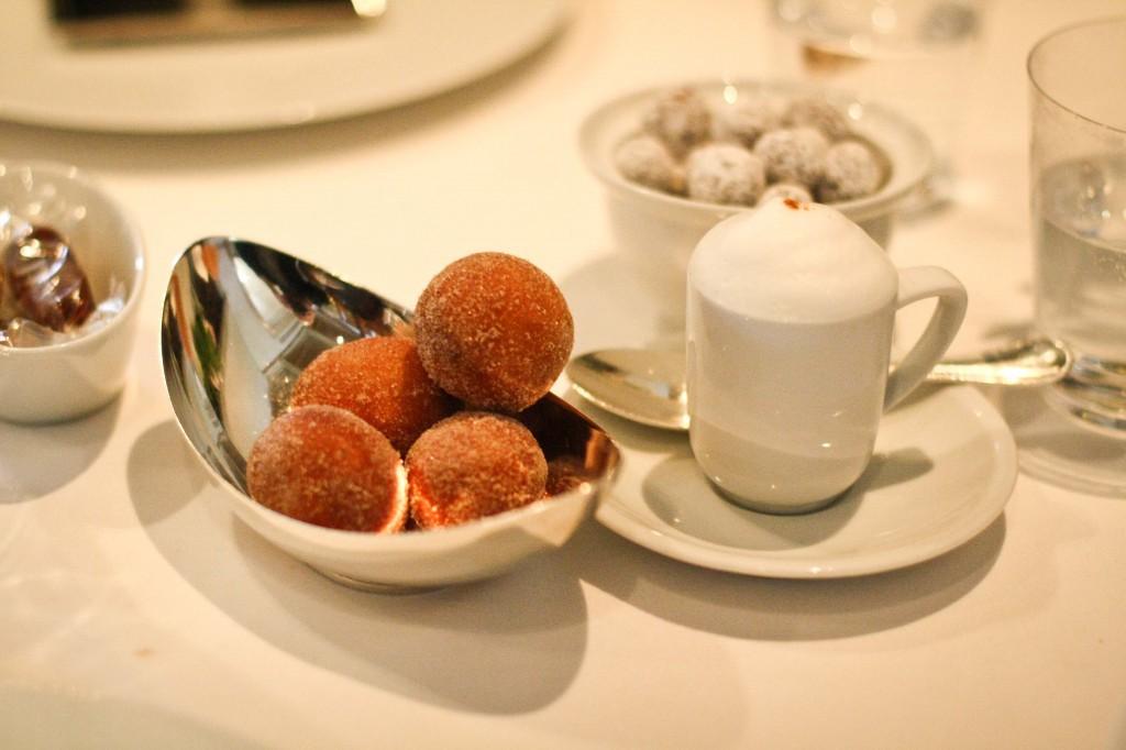"""""""Coffee and Donuts"""" - Cappuccino Semifreddo with Cinnamon-Sugar Doughnuts"""