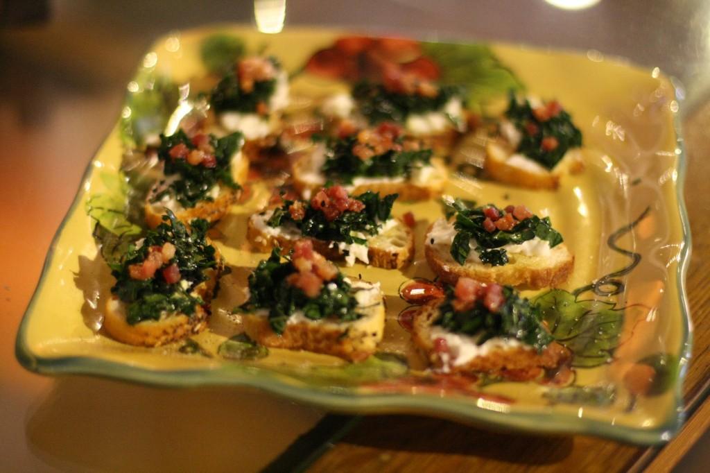 Kale Pancetta Crostini