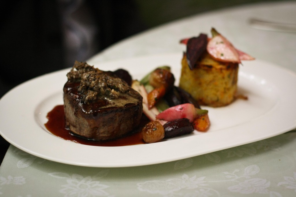 Filet Mignon - 53 - Potato Cake, Roasted Root Vegetables, Morel Mushrooms and Madeira Sauce
