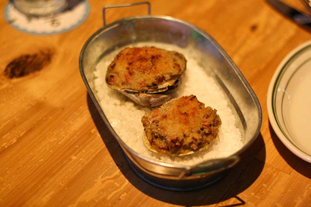 Stuffies - clams, linguica sausage and bread crumbs