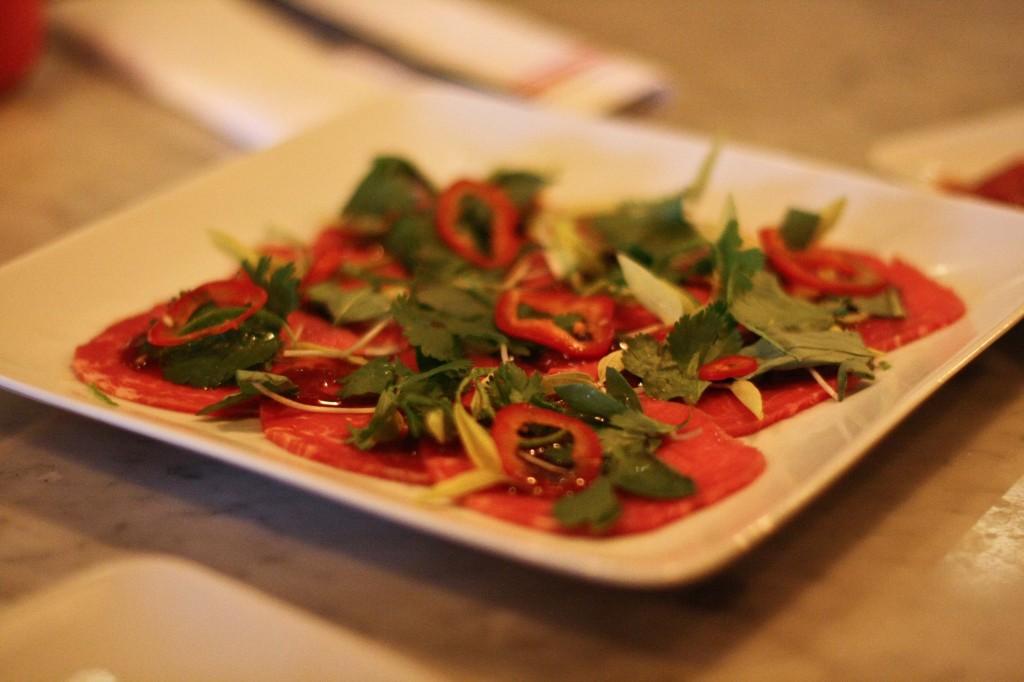 """Beef """"Pho-Paccio"""" / Bean shoots/Thai basil/Cilantro/Chili"""