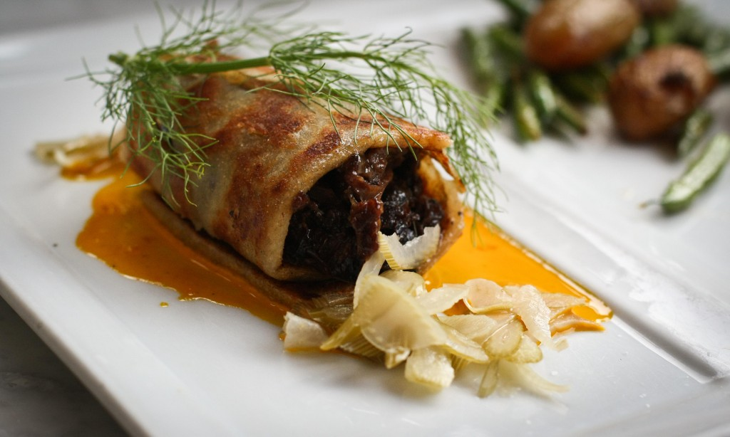 Braised Beef Cheek wrapped in Potato Lasagna with Pickled Fennel & Nantes Carrot Emulsion