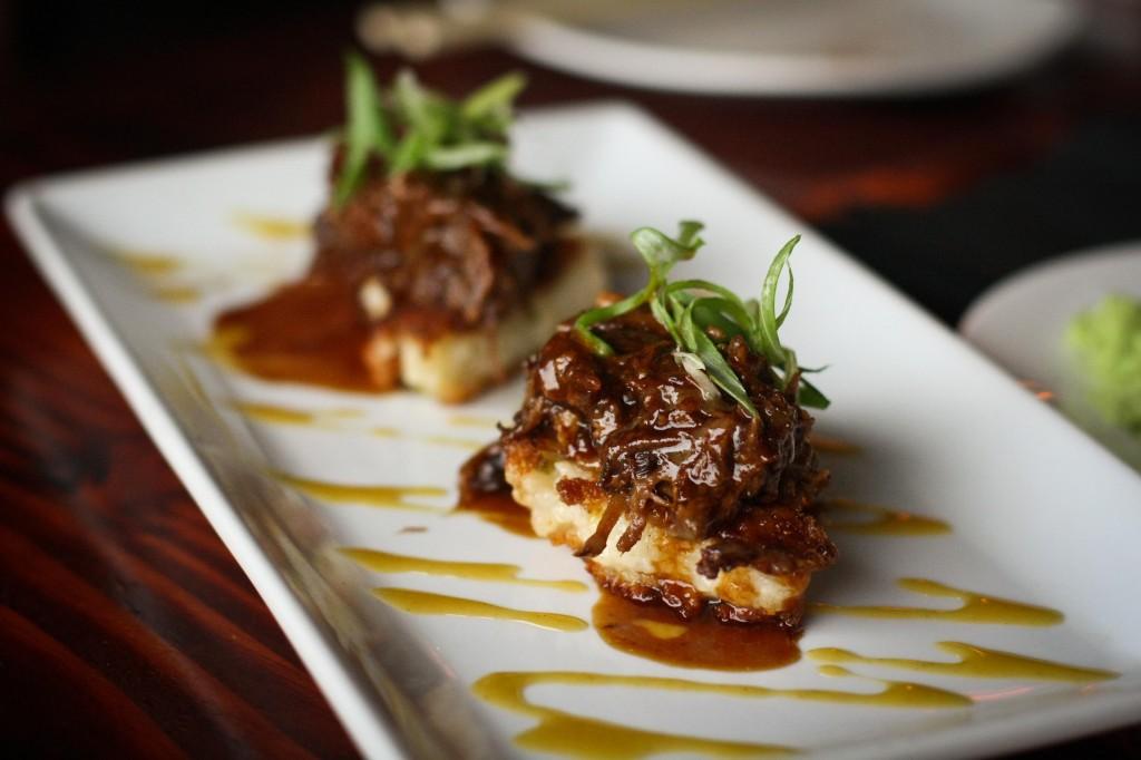 Kurobuta Pork Carnitas - scallion risotto cake, hoison reduction, honey mustard