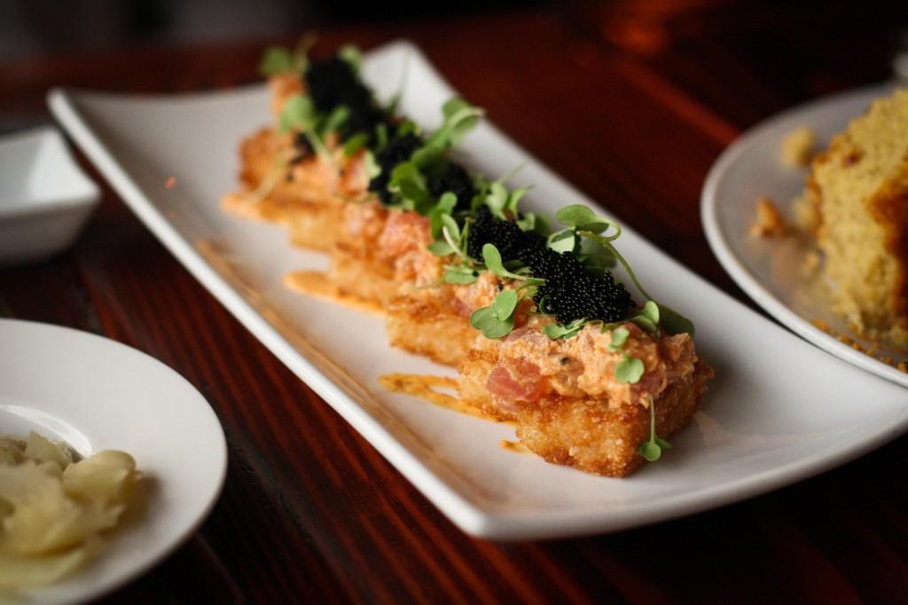 Spicy Tuna on Crispy Rice - Black Tobiko, micro arugula