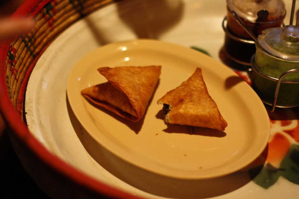 Sambussas - Kind of like Indian Samosas but stuffed with spiced lentils.