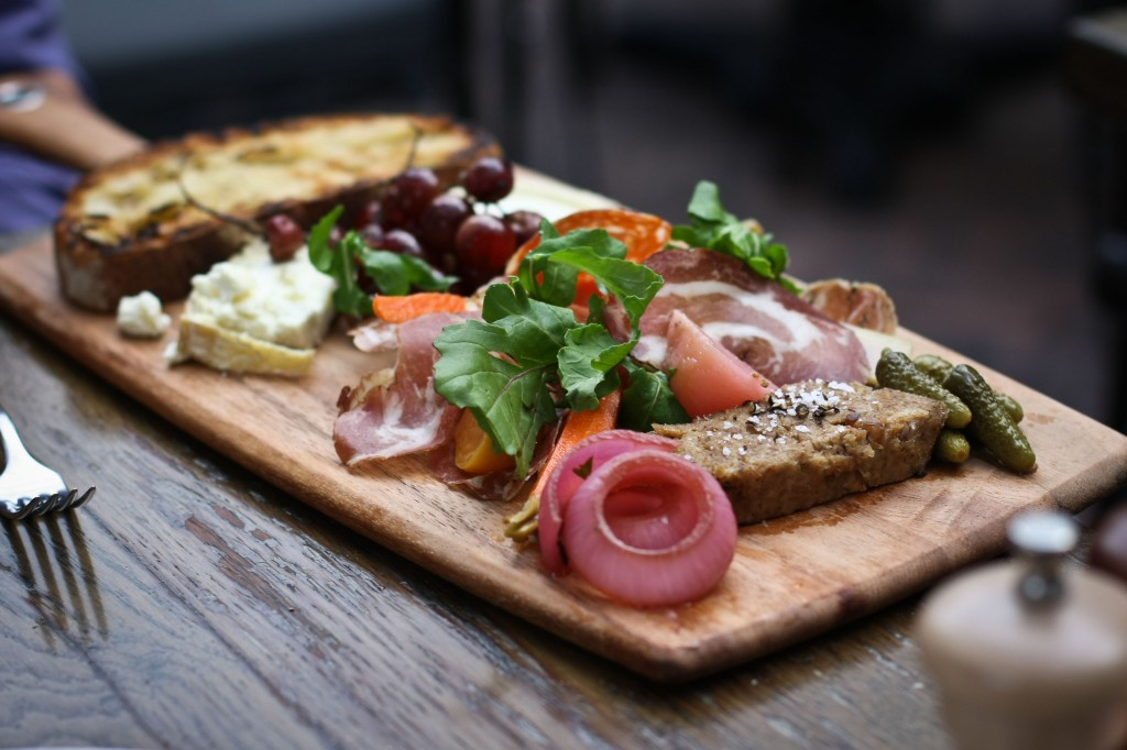Vitner's Plate - rillettes, cheese, cured meats, pickles, roasted grapes & grilled toast