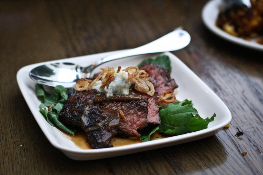Hanger Steak with Gorgonzola Butter and Shallot Rings