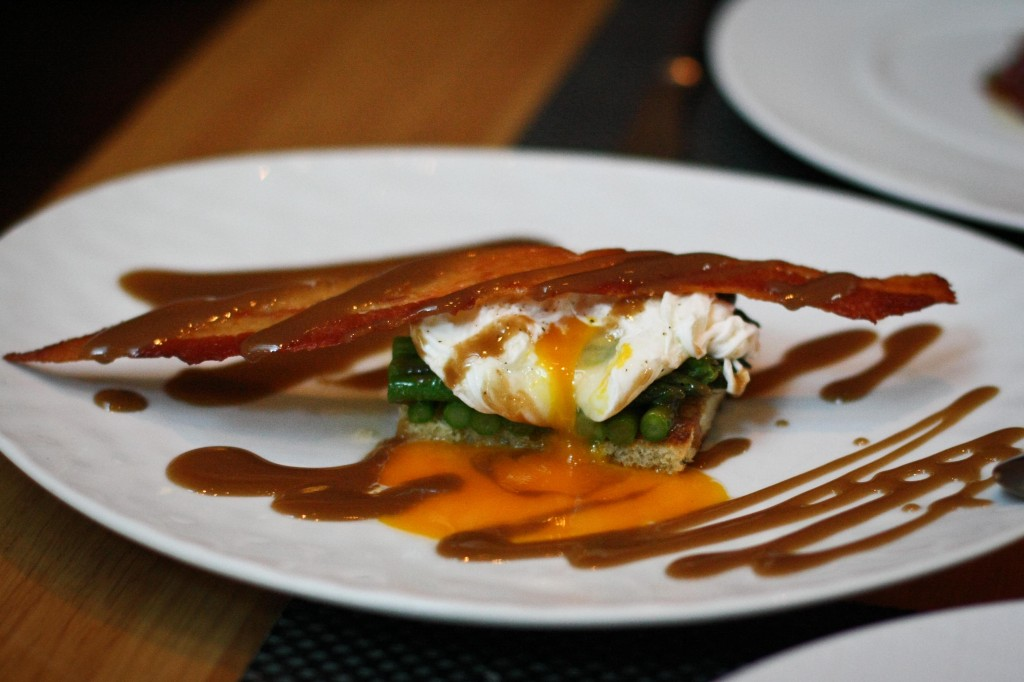 Asparagus, Poached Egg, Bacon Viniagrette