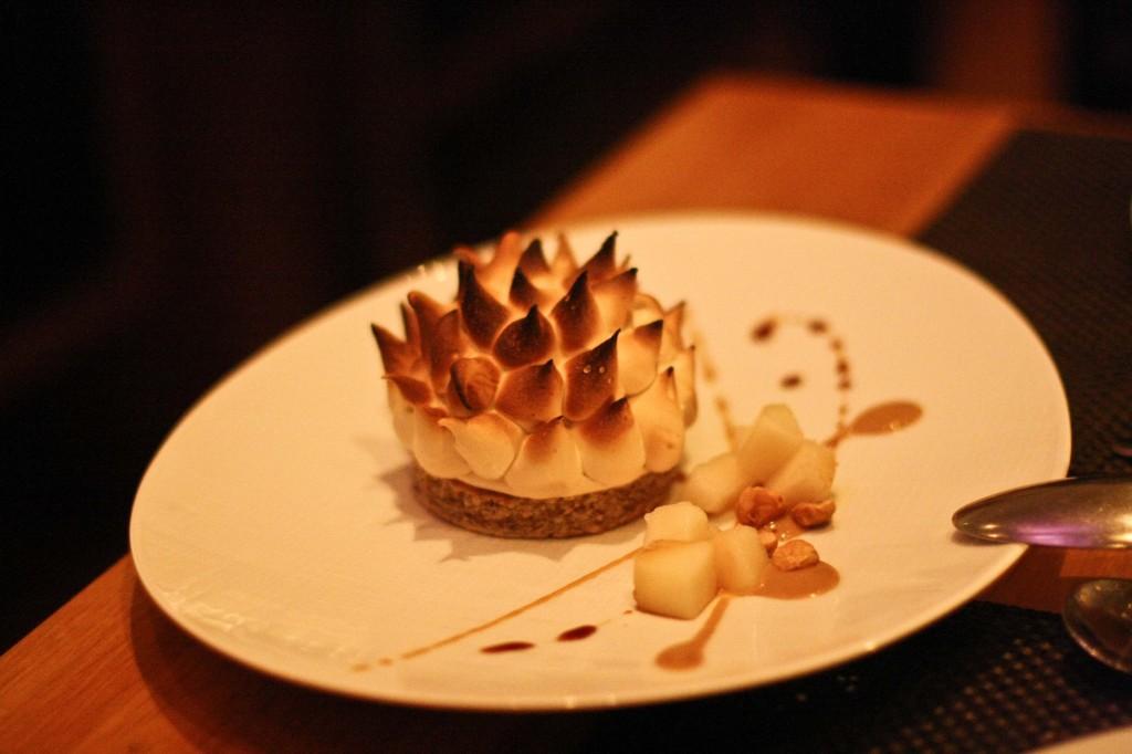 """""""Baked Alaska"""", Pear Sorbet & Ricotta Gelato"""