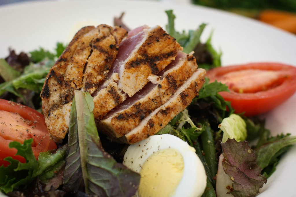 Grilled Ahi Niçoise Salad - Niçoise Olives, Haricot Verts, Eggs, Red Rose Potatoes, Grain Mustard Vinaigrette