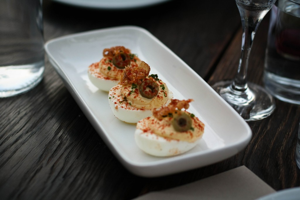 Deviled Eggs with Crispy Pig Ear